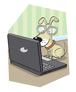 Cartoon of clever dogusing a laptop
