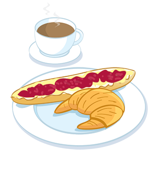 Illustration of European breakfast