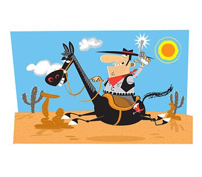 Cartoon of a cowboy on a horse