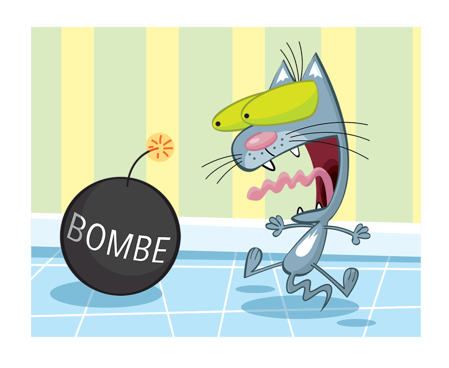 Terrified cat and bomb cartoon