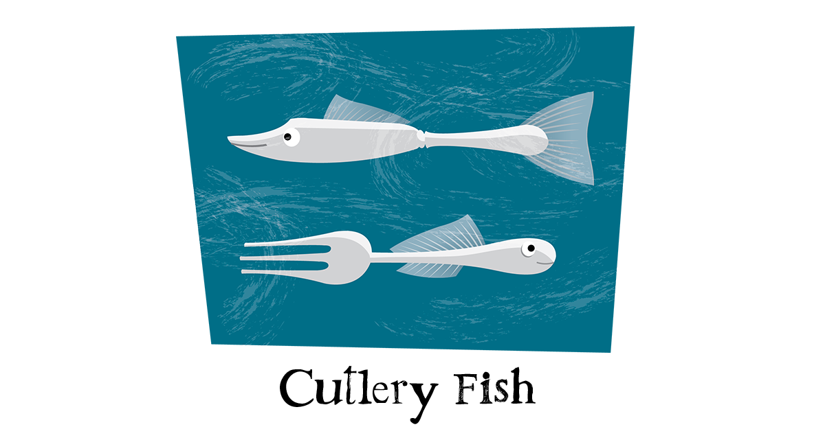 Cutlery Fish, fish pun, cartoon.
